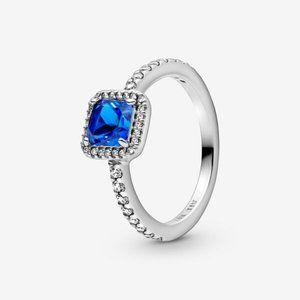 🔥PANDORA Blue Square Sparkle Halo Ring